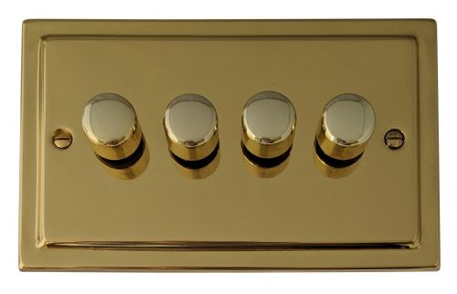 G&H TB14 Trimline Plate Polished Brass 4 Gang 1 or 2 Way 40-400W Dimmer Switch